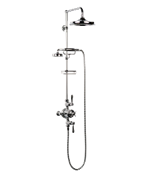 "Arcade Black Lever Exposed Thermostatic Shower Set With 9"" Rain Head & Handset On Bar"