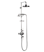 "Arcade White Lever Exposed Thermostatic Shower Set With 9"" Rain Head & Handset On Bar"