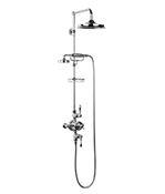 "Arcade Metal Lever Exposed Thermostatic Shower Set With 9"" Rain Head & Handset On Bar"