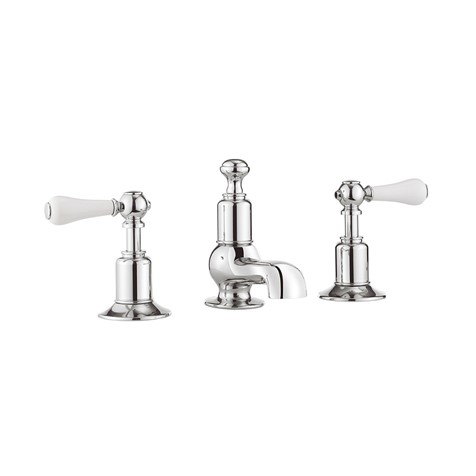 Belgravia Low Spout Widespread Bathroom Faucet with White Lever