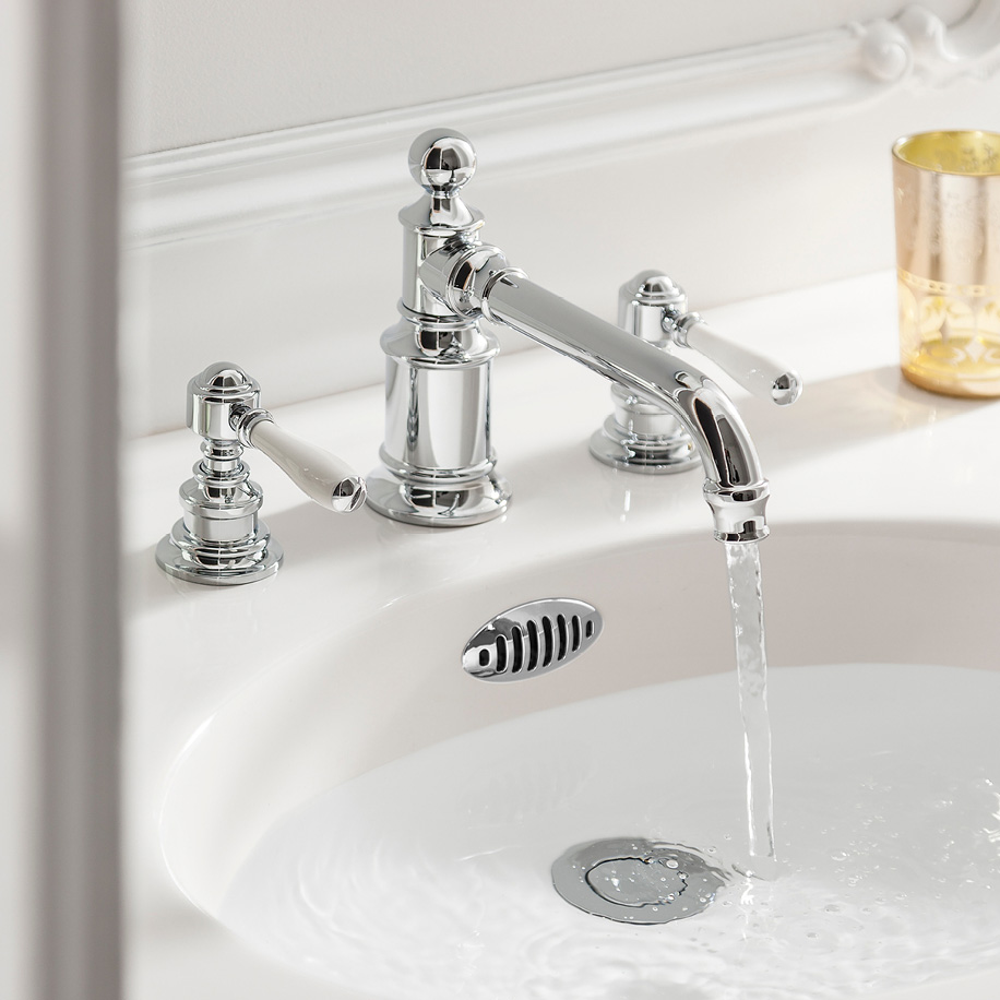 Arcade White Lever Widespread Lavatory Faucet In Arcade