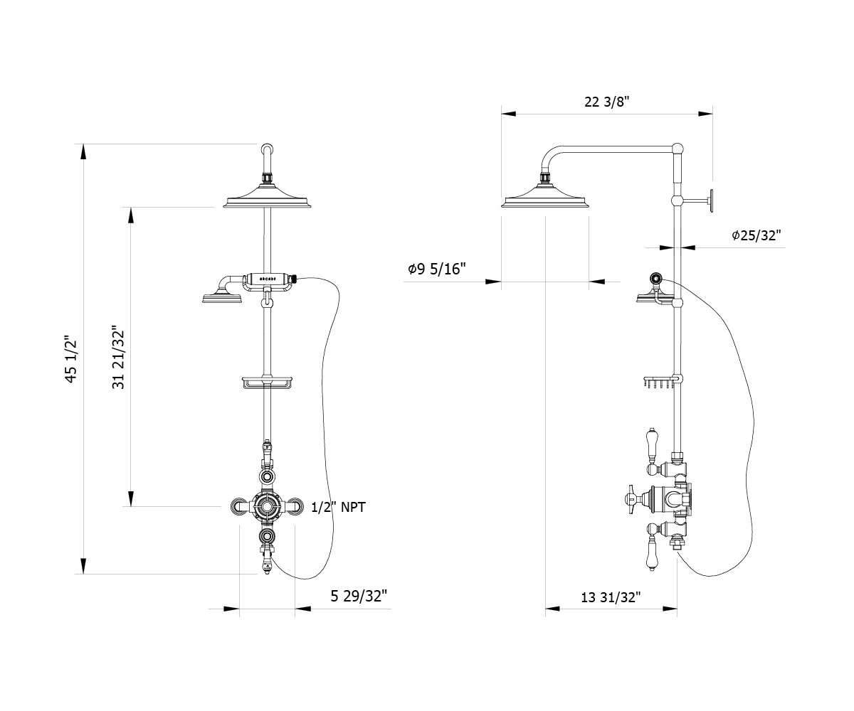Arcade White Lever Exposed Thermostatic Shower Set With 9