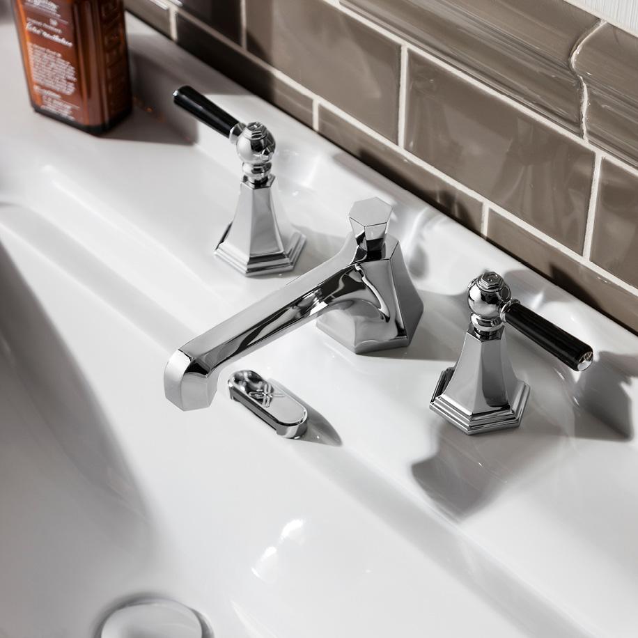 Waldorf Black Lever Low Spout Widespread Lavatory Faucet